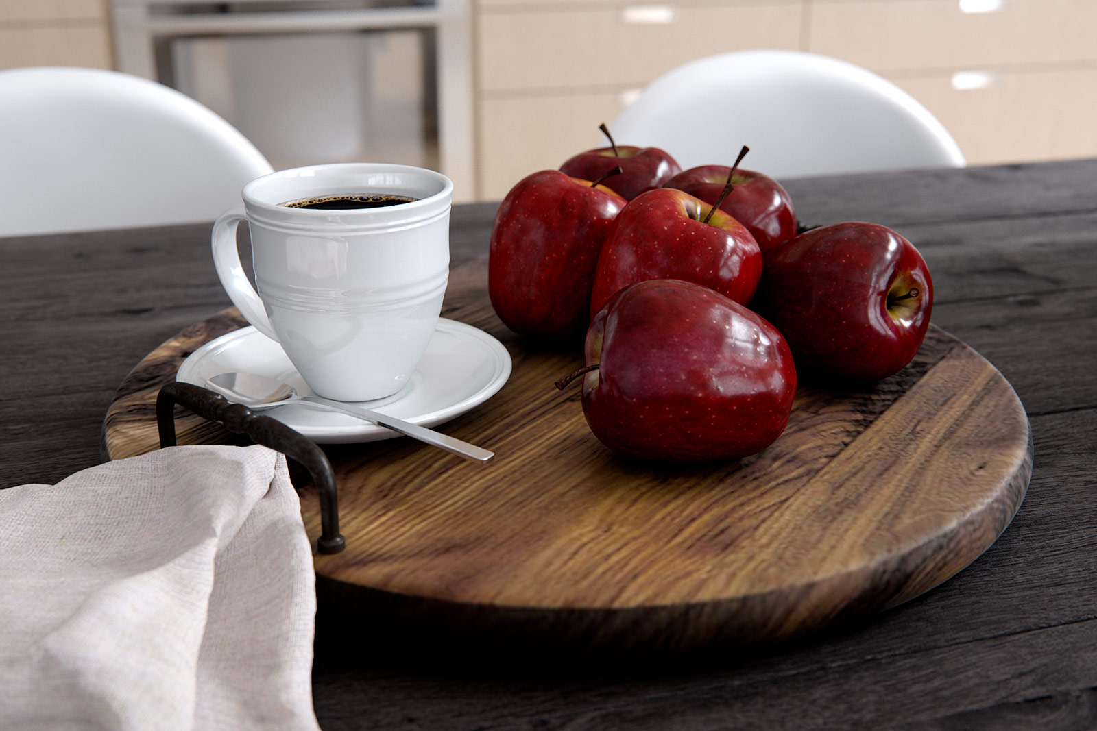 True photo-real interior with apples